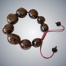 Garnet Bracelet, Dark Burgundy, adjustable