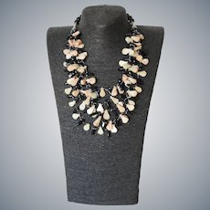 Sea Bamboo Corals with Black Agate Necklace