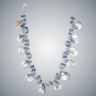 Mother of Pearl Necklace with Aquamarine and Sodalite