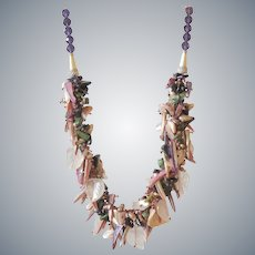 Rose Quartz Leafs Necklace with Mother of Pearl, Blue Goldstone and Blue Agate