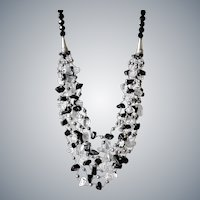 Black Obsidian and Black cultured Pearl Necklace with Clear Quartz