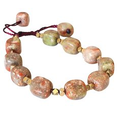 Unakite Jasper Bracelet with Faceted Pyrite