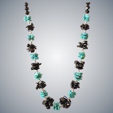 Turquoise Necklace with Black Obsidian and Black Crystals
