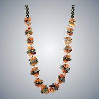 Carnelian and Multicolor Agate Gemstone Necklace