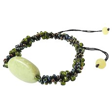 Serpentine Bracelet with Black Green and Blue Seed Beads