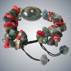 Ocean Jasper and Green Agate Bracelet with red Sea Bamboo