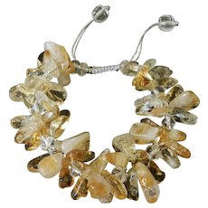 Citrine Gemstone Bracelet with Clear Quartz Roundels