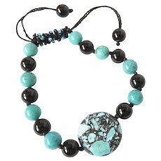 Turquoise and Black Beads Bracelet, with Black and Blue Seed Beads.