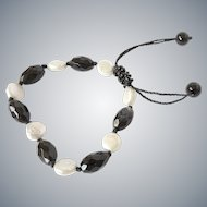 Black Agate and White cultured Coin Pearl Bracelet