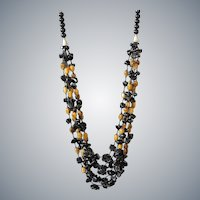 Tiger Eye, Black Obsidian with Black Obsidian Flowers Necklace