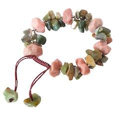 Rhodonite Gemstone Bracelet with Clusters of Green Agate, stylish, elegant, attractive