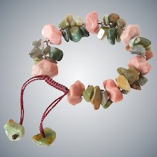 Rhodonite Bracelet with Clusters of Green Agate