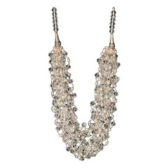 Austrian Crystals with cultured Pearls Fifteen Strand Necklace