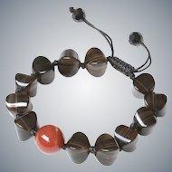 Smoky Quartz Bracelet with Single Round Carnelian