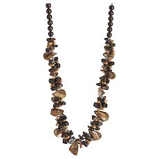 Mother of Pearl and cultured Freshwater Pearls Necklace with Black Obsidian, Black Onyx