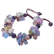 Multi-color Crackled Glass Bracelet