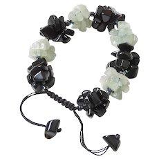 Black Obsidian with Aquamarine Cluster Bracelet