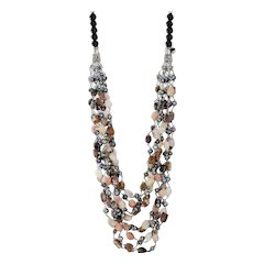 Tourmaline, Pink Opal with Black cultured Freshwater Pearls Necklace