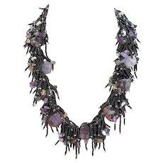 Amethyst, Fluorite, Green Aventurine, Citrine Necklace with Black Seed Beads
