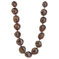 Deep Burgundy Garnet Balls Necklace, Classic Style
