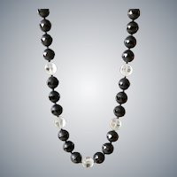 Black Agate and Clear Quartz Necklace