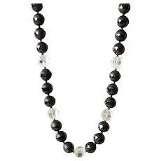 Black Agate and Clear Quartz Necklace
