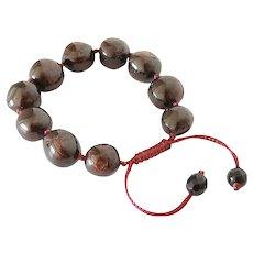 Garnet Balls Classic Style Bracelet, Dark Burgundy, adjustable