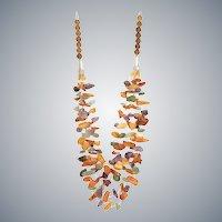 Multi-Strand Gemstone Necklace with Baltic Amber, Amethyst, Green Aventurine