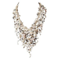Multicolor Pearls Elegant Necklace with cultured White, Pink, Iridescent Black, Bronze Pearls