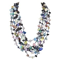 Multicolour Multi-strand Crackled Glass Beads Necklace