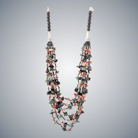 Multi-Strand Gemstone Necklace with Black Obsidian, Red and Pink Corals, Green Agate
