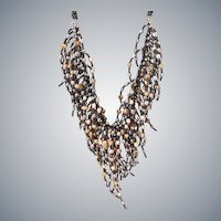 Freshwater cultured Gray, Black, Bronze, Brown Pearls Necklace with Black Seed Beads