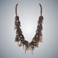 Botswana Agate and Jasper Carved Leaves Necklace with cultured Pearls, Onyx and Seed Beads