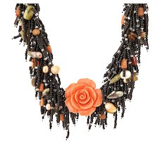 Coral Orange Flower Necklace with Black Seed Beads, cultured Freshwater Pearls, Carnelian, Unakite, Apatite and Hessonite