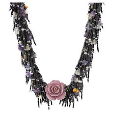 Purple Coral Pendant Necklace with Black Seed Beads, cultured Pearls, Amethyst, Citrine, Aquamarine