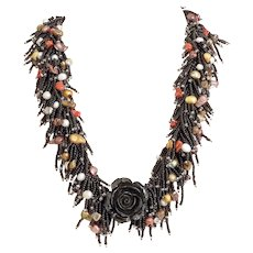 Black Coral Flower Necklace with Black Seed Beads, Red Corals, cultured White, Bronze, Golden Pearls