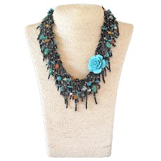 Turquoise Coral Flower Pendant Necklace with Black Seed Beads, cultured Pearls, Turquoise, Carnelian, Russian Amazonite