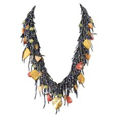 Yellow Mother of Pearl Necklace with Red Corals, Olivine, Yellow Aventurine, Multi Color Seed Beads, Exquisite, Elegant, Attractive