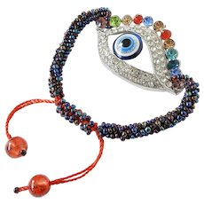 Blue Evil Eye Bracelet with Colourful Crystals Seed Beads, Traditional Protection Jewelry, Kabbalah, Hinduism, Islam, El Mal de Ojo Pulsera