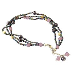 Multicolor Bracelet or Anklet, with Glass Beads and Seed Beads, adjustable