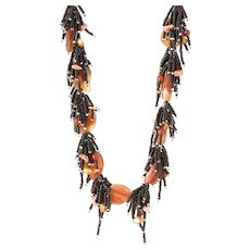Carnelian Carved Leaves Necklace with Corals and Cultured Pearls, and Black Seed Beads