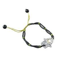 Hamsa Evil Eye Bracelet, Black Seed Beads, Talisman pulsera Mal de Ojo, Traditional Protection Jewelry in Judaism, Kabbalah, Islam