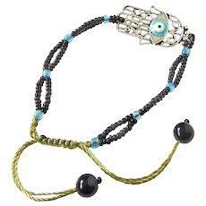 Hamsa with Blue Evil Eye Bracelet snd Black Seed Beads, Talisman Traditional Protection Jewelry in Judaism, Kabbalah, Islam