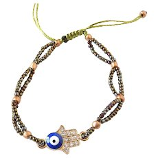 Hamsa Bracelet with Blue Evil Eye and Crystals, Bronze Seed Beads, Traditional Protection Talisman Jewelry in Judaism, Kabbalah, Islam,