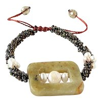 Jasper Bracelet with Freshwater cultured White Pearls and Brown Green Bronze Purple Seed Beads