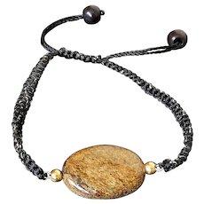 Bronze Gemstone Bracelet, with Oval Bronzite and Black Onyx, Golden Black Macrame Adjustable Cord.
