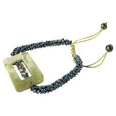 Jasper Bracelet with Hematite and Blue Green Purple Seed Beads, on Macrame Cord, Adjustable