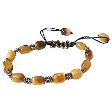 Tiger Eye Bracelet, with Bronze Seed Beads