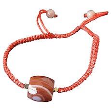 Red String Carnelian Gemstone Charm Bracelet, light and thin, stylish, modern, adjustable, fashionable