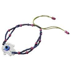 Hamsa Bracelet Double Stranded, with Blue Evil Eye, Blue Purple Seed Beads, Traditional Protection Talisman Jewelry in Judaism, Kabbalah, Islam